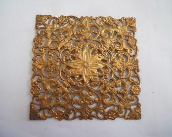 Vintage Large Square Filigree Brass  Stamping