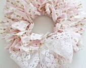 Lace and Pink and Roses Fabric Rag Wreath, Hand Created and Tied, Torn Homespun Fabric, Farmhouse, Original, Wall Decor, ECS, CSSTeam