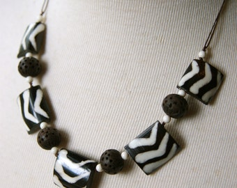 Batik Bone Necklace with Vintage Carved Wood and Lucite on Cord