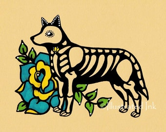 Day of the Dead BLUE HEELER Australian Cattle Dog Dia de los Muertos Art Print 5 x 7, 8 x 10 or 11 x 14 - Choose your own words - Donation