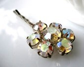 Debonair Hairpin - repurposed vintage iridescent rhinestone 1960's 'gem' on silver hairpin - Bridal - Prom - Free Shipping to USA