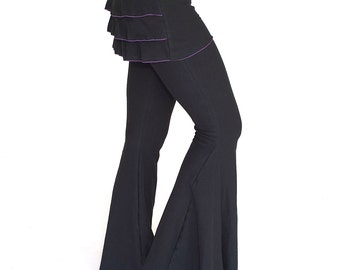 Womens Ruffle pants with attached ruffle skirt, BUSTLE PANTS, burning man, festival clothing, flare dance pants, bellydance pants, trendy