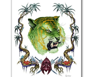 He-Man - Battlecat Art Print - Tiger art - MOTU - Pop Culture Art - Animal Portrait - Limited Edition Print by Ryan Berkley