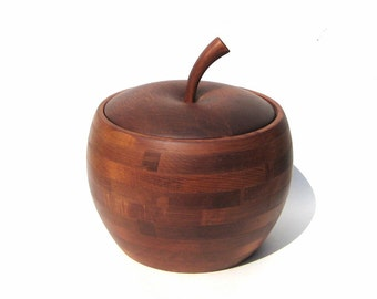 Vintage Baribocraft Apple Ice Bucket Canada Vintage Woodenware Wood Storage Box