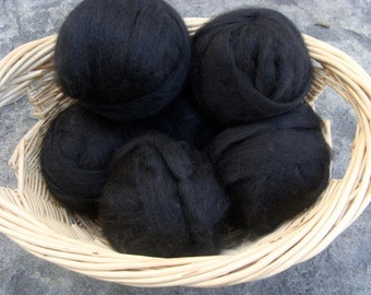 Alpaca Rovings Three Ounces Jet Black Baby Soft Ready to Spin or Felt