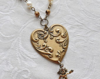 Cupid- Brass Heart with Vintage Monet Charm and Vintage Beads