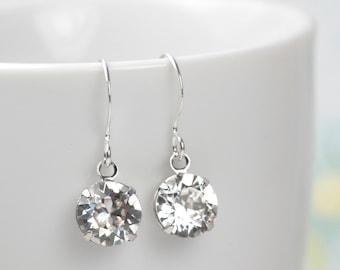 Swarovski Crystal Silver Earrings, Clear Silver Earrings, Swarovski Earrings, #533