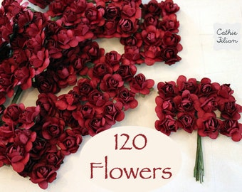 120 Mulberry Paper Flowers - small bouquet - wedding, bridal, baby showers, invitation making, scrapbooking