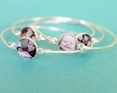 Mothers Day Personalized Picture Mom Sterling Photo Bangle Bracelet, Girlfriend