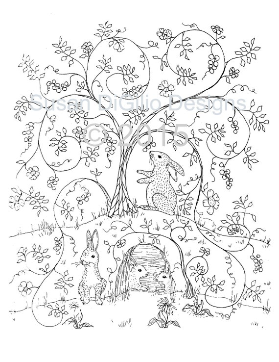 DIY Wall Decor Printable Coloring Page Bunnies in the