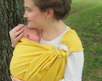Linen Ring Sling Baby Carrier, decorative stitching - 100% LINEN Primrose yellow - DVD included, summer, baby shower gift, forsythia, cool