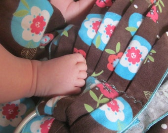 Midwifery Baby Weighing Sling - Chocolate and Flowers Single Layer Flannel - SlingRings even on these