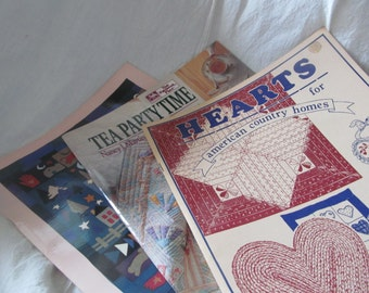 3 80s Quilting books, Hearts,Tea Party Time, Tall Moon ...patterns, instuctions