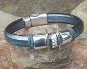 Regaliz 10mm Leather Bangle Bracelet with Prong Set CZ Spacer