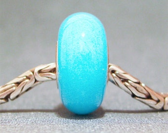 Glow in the Dark Robin's Egg Blue Handmade Lampwork Glass Bead Euro Bracelet Charm