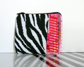 Small Zipper Pouch in Zebra and Abstract City