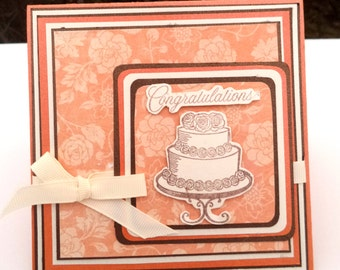 Congratulations Wedding Card, Orange, Brown, Cream with Wedding Cake and Ribbon, 5x5