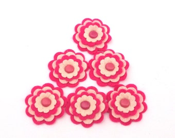 Felt Scrapbook Embellishments, Flowers, Card Embellishments, Felt Flower Embellishments, Fuchsia Pink Cream, Set of 6