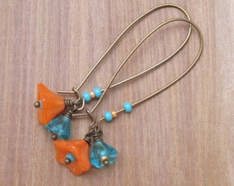 Turquoise and Orange Czech Glass Flowers on Antique Brass Elongated Kidney Ear Wires, Handmade Floral Earrings