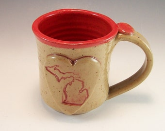 Michigan Mug/Hand Made Love Michigan Heart Mug/Pottery Michigan Mug