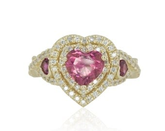 Pink Engagement Ring, Three Stone Pink Tourmaline Hearts Ring with Twisted Shank and Double Diamond Halo - Duchess Collection - LS4222