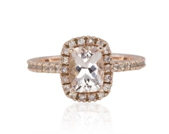 Rose Gold Morganite Engagement Ring, 1.5 Carat Cushion Cut Morganite Solitaire Ring w/White Sapphire Halo and Half Eternity Shank - LS4382