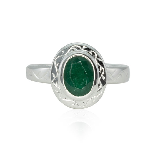 emerald engagement ring oval bezel set emerald ring with vine