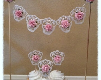 Shabby Chic Cake Bunting  and Cupcake Toppers Birthday Decoration for Birthday party