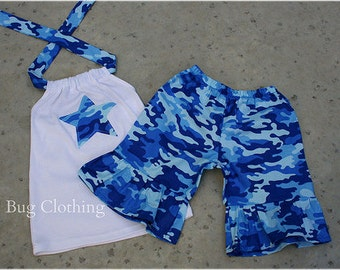 Custom Boutique Blue Army Camouflage Short Halter Top 3m 6m 9m 12m 18m 24 2t 3t 4t 5t 6 7 8 9 10  girl