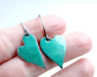 Heart Earrings, Enameled Earrings, Rustic Earrings, Funky Heart Earrings, Aquamarine Earrings, Asymmetrical Earrings, Aqua Earrings