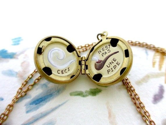 Hand-Painted Locket Necklace - Miniature Art - Magritte Pipe Art History Surrealism
