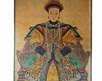 Antique Chinese Ancestor Portrait Painting - hanging scroll - ink and color on paper - Scroll101