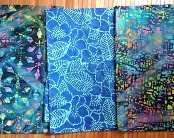 Batik Fabric THREE One yard Blue Batik Pieces Bundle Moda