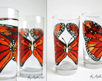 Orange Monarch Butterfly Glassware - Set of 2 Hand Painted Butterfly Glasses - Butterfly Wedding - Wedding Glasses