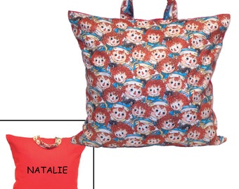 PERSONALIZED PILLOW for GIRL ~ Made From Raggedy Ann and Andy Fabric - Great for Travel & Car Trips!