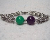 Simple Linked Materia Bracelet, stainless steel chainmaile and dyed jade