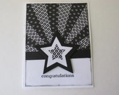 Congratulations Black and White Star-burst Hand Made Greeting Card