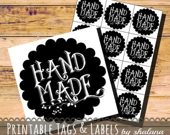 Printable PDF Tags - Round Chalkboard Hand Made Labels
