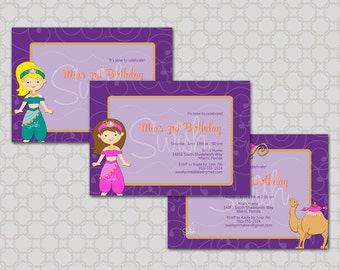 Arabian Birthday Invitation First Birthday Camel Lamp - printable party digital invite - 5x7