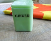 vintage jadite ginger jar, probably jeannette, straight from the farm