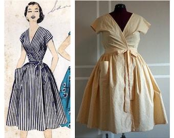 PRICE REDUCED - Retro Inspired Wrap Dress/Housedress - Yellow Stripe M/L