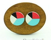 Buy 1 Get 1 Free - Geometric Wooden Cabochon, Wooden Button, 12mm 15mm 20mm Round Black White Red Turquoise Wood Cabochon - HWC034H