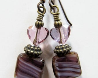 Antique Pink Crystal Hearts and Purple Czech Glass Beaded Niobium Earrings