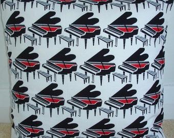"Pillow Cover 16x16 Black Red and Cream Grand Pianos Sham 16"" Decorative Cushion Cover Case Slip Pillowcase Square Baby Piano Music Musical"