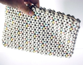 1930s Czech Bead Purse Vintage Clutch Pastel Wood Beaded Bag Wedding Accessories Formal Dance White Czechoslovakia Daisy Pattern Collectible
