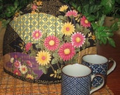 Quilted Thermal Lined Teapot Cozy Floral and Fan Design Japanese Asian Fabric Black