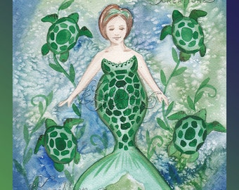 Green Sea Turtle Mermaid Print from Original Watercolor Painting by Camille Grimshaw