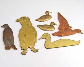 Brass bird stampings, vintage assorted, penguins ducks, 6 pcs