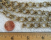 3 Feet of Very Unusual Brass Chain, 10mm Textured Round Link, 8mm Link with Barbell