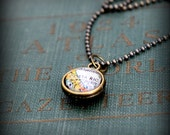 Teeny 2-Sided Antique Brass Map Necklace - Personalized Map Jewelry - You Pick Location - Map Pendant - Adoption Gift - Bridesmaid Gift